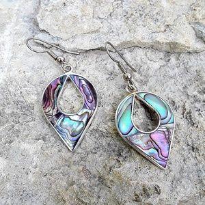 Vtg Mexico Alpaca Silver Abalone Earrings
